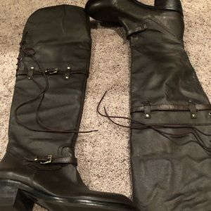Bcbg brown Adrice leather boots over knee 6.5